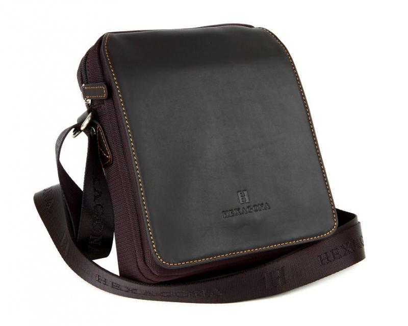 ad508d9bc423a Unisex príručná taška na rameno hnedá HEXAGONA