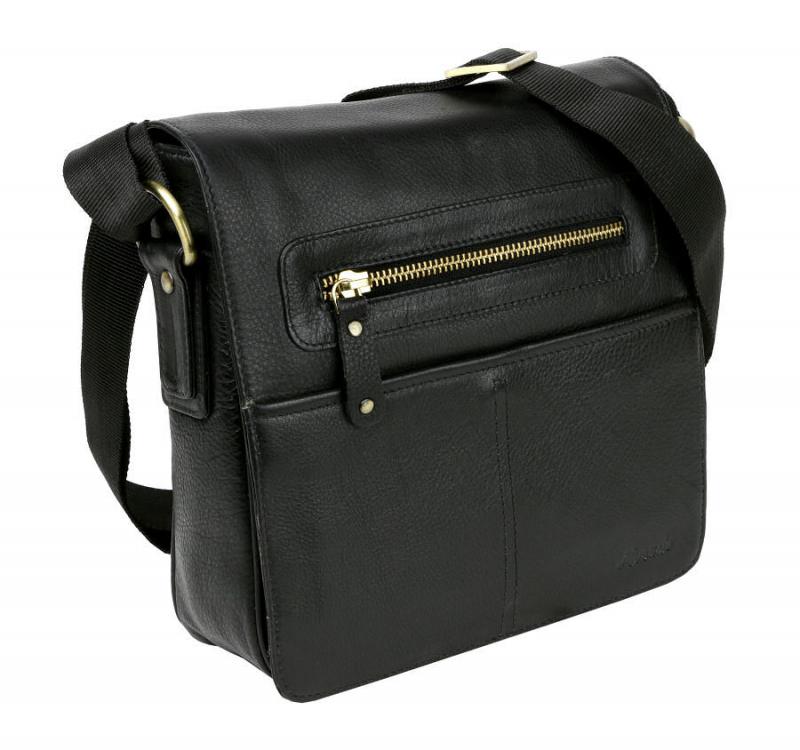 0737dcc396915 Kožená taška cez plece MERCUCIO čierna - KozeneDoplnky.sk