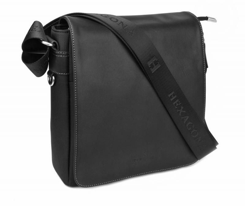0e958dd401391 Príručná kožená taška HEXAGONA 299156, 25x23 cm čierna