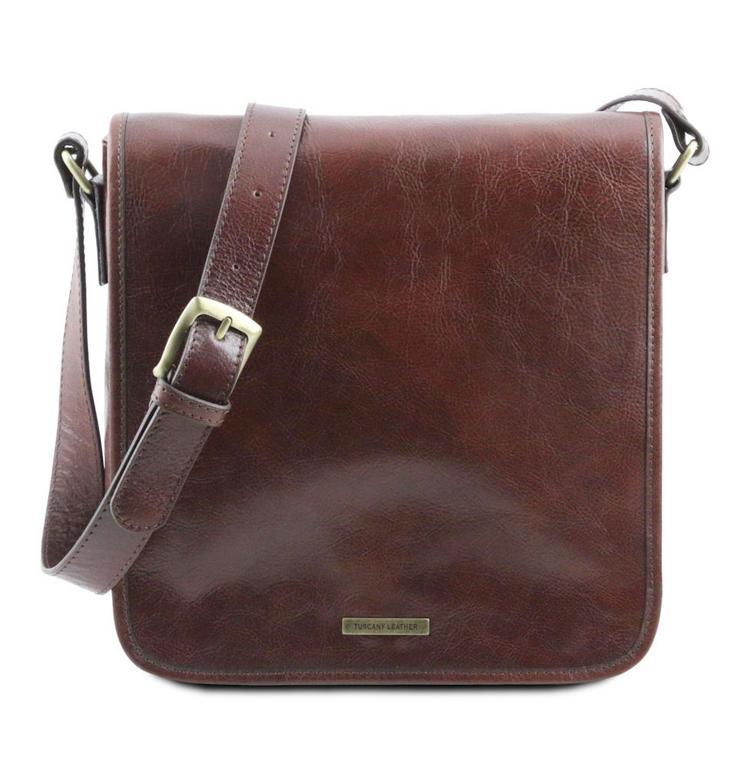82294db26c6a2 Kožená taška na rameno s poklopom MESSENGER 141260 28x28,5 cm hnedá