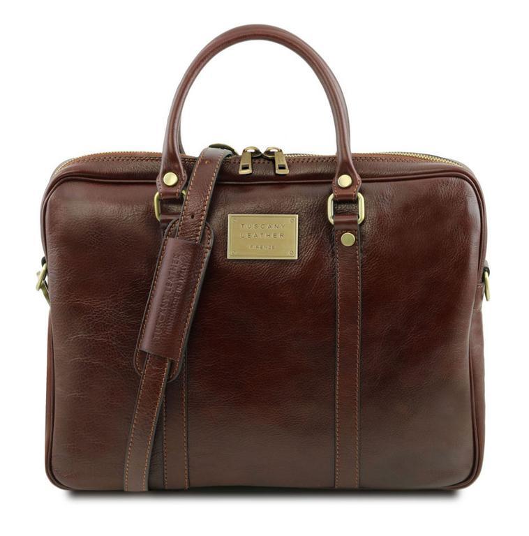 57a1e22fa6 Kožená taška na notebook PRATO TL141283 hnedá