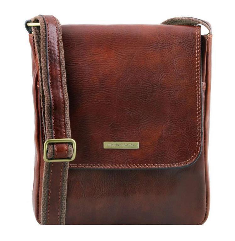 83f7216e4e95 Crossbody kožená taška s poklopom JOHN TL141408 hnedá