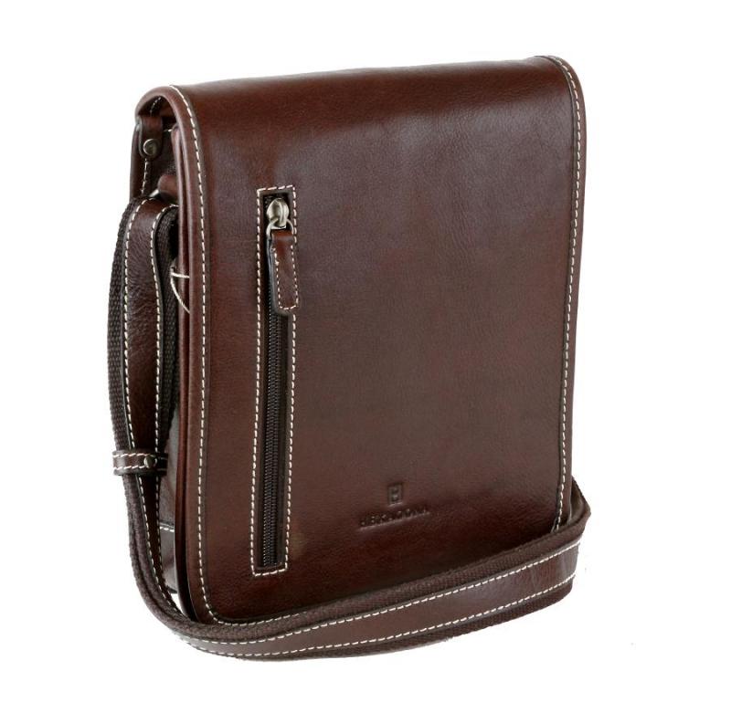 fb19859e08b32 Kožená taška na rameno HEXAGONA 123483, hnedá