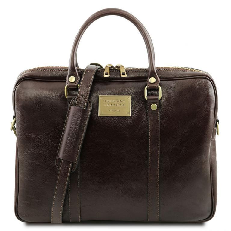 b7bdb7d2d Kožená taška na notebook PRATO tmavá hnedá | TUSCANY LEATHER