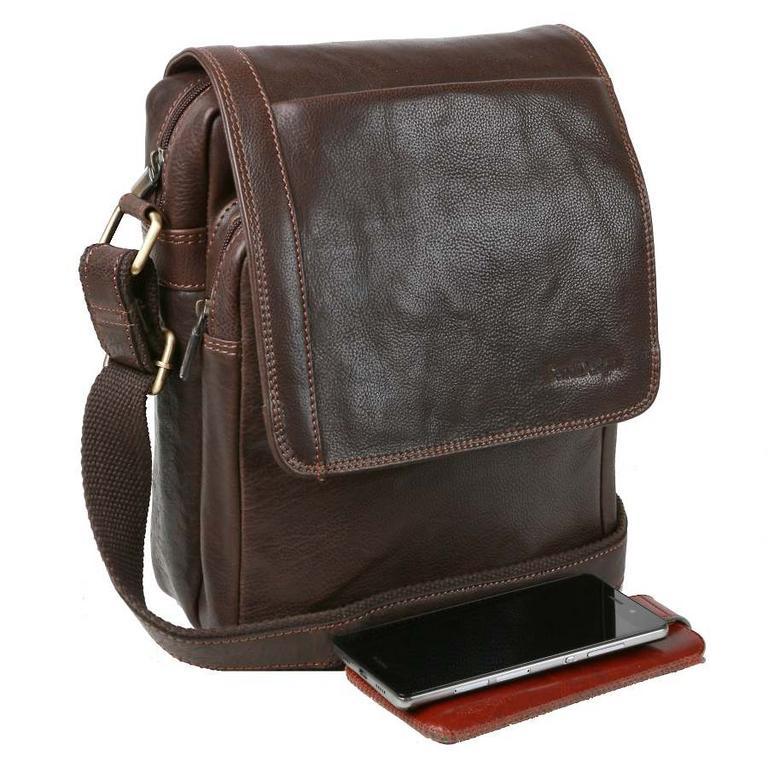 166efa626 Crossbody kožená taška na rameno 29x24 cm SENDI, hnedá