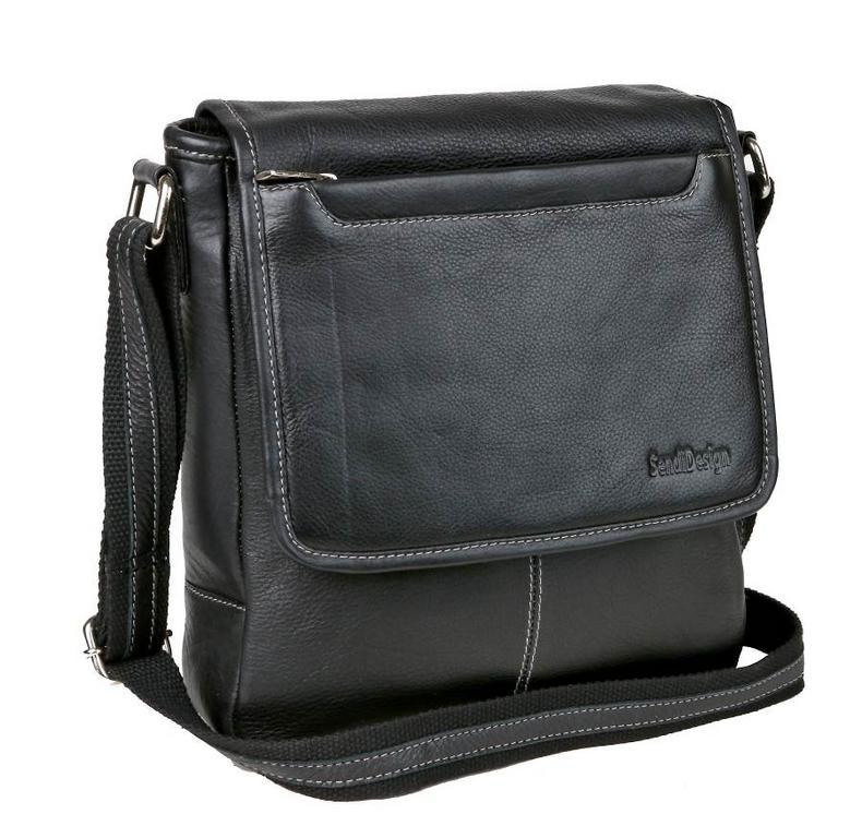 995fe82e6e49b SENDI DIZAJN | Kožená pánska taška cez rameno 26x26 cm čierna