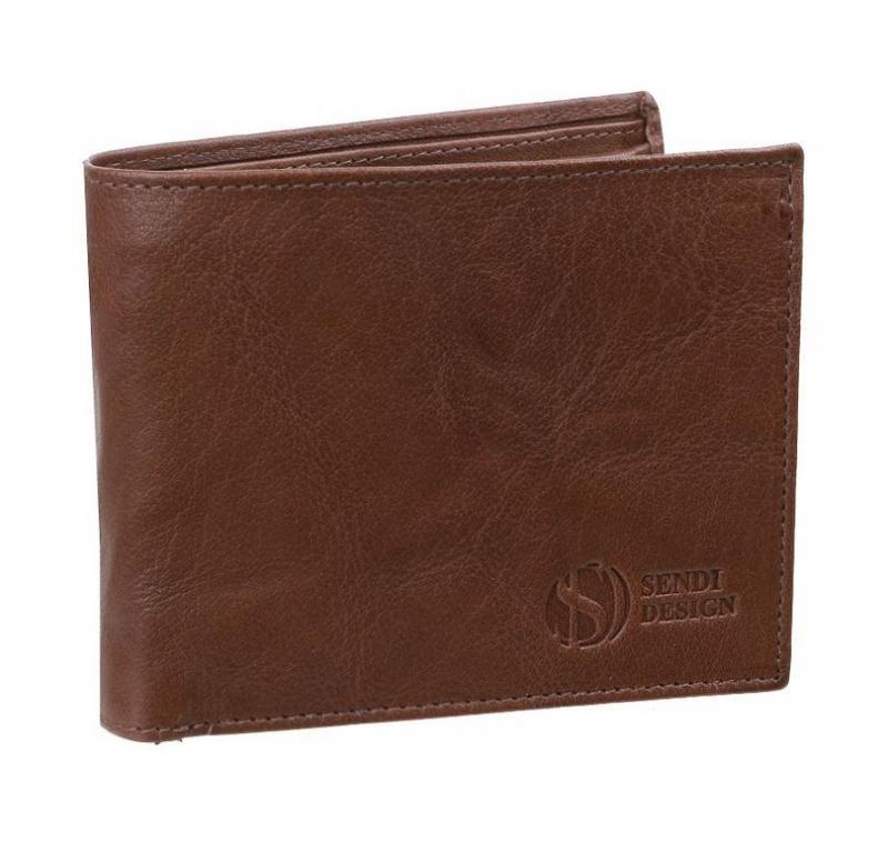00261738c4 Pánska kožená peňaženka SENDI hnedá SNW6856 - KozeneDoplnky.sk