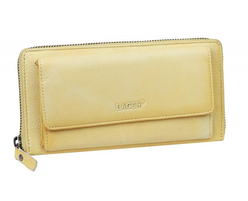2aa423e50565 Kožená dámska peňaženka LAGEN s predným mincovníkom žltá