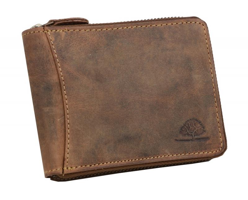 7b270c2143 Pánska peňaženka na zips GreenBurry brúsená koža hnedá
