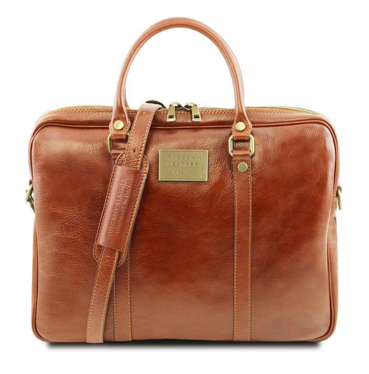 fb258cc4f7860 Luxusná kožená taška na notebook medová TUSCANY PRATO