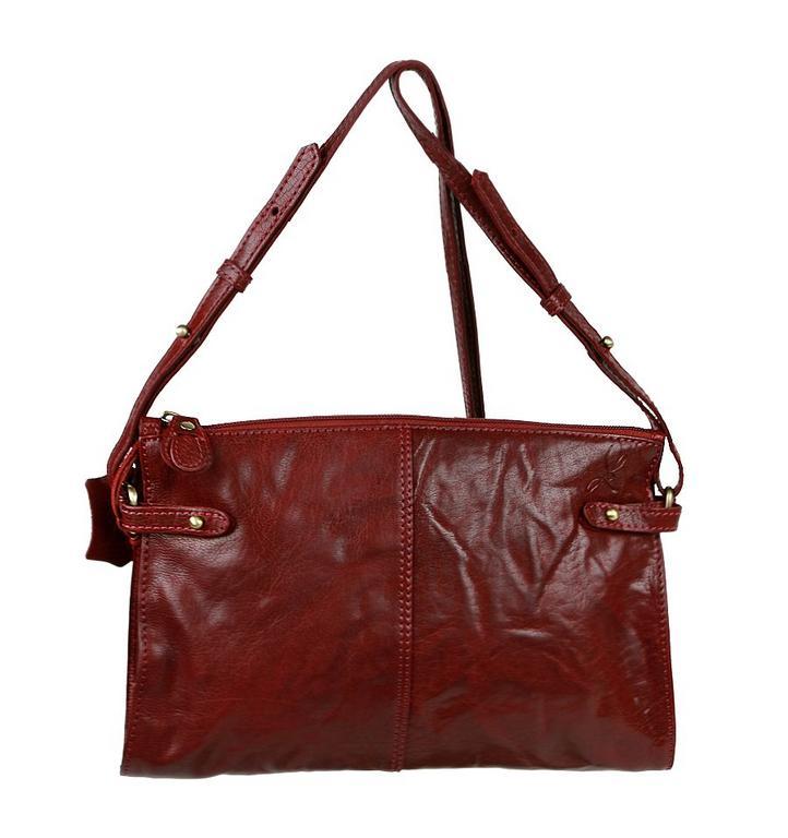 Kožená dámska kabelka 28x18 cm bordová LAGEN 3377 12cd3e49b7d