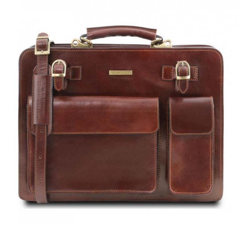46d1849df259 Kožená taška na dokumenty cez plece VENEZIA hnedá