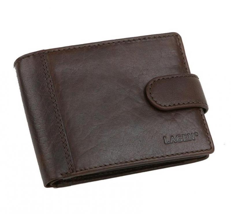 e4e06e49a9a7 Elegantná kožená pánska peňaženka so zapínaním LAGEN hnedá -  KozeneDoplnky.sk