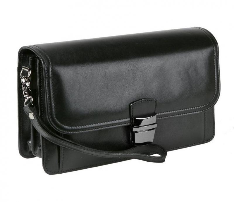 3b7841572 Luxusná čierna pánska taška s prešívaním HAJN