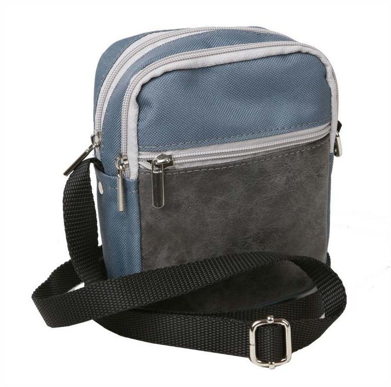 1b885abf61 Pánska taška cez plece s poklopom 16 x 21 cm MERCUCIO textilná šedá