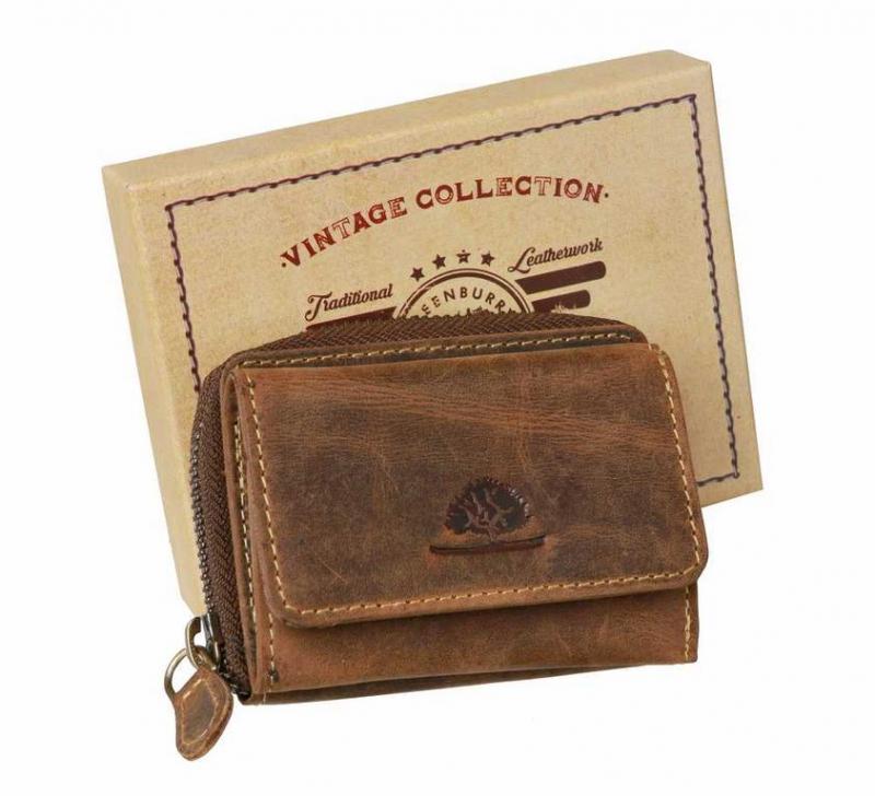 Kožená mini peňaženka GreenBurry dvojdielna hnedá c5acddbcc99