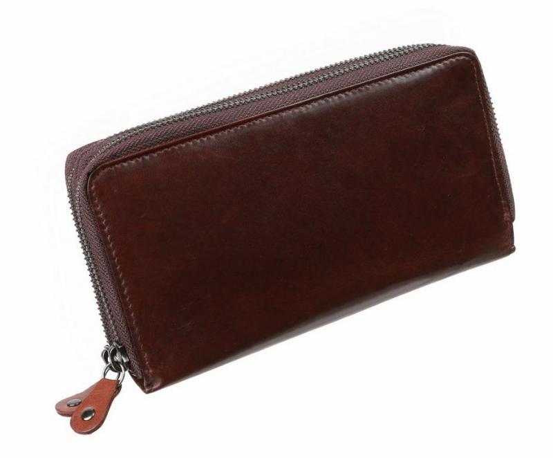 Dámska hnedá listová peňaženka MERCUCIO RFID dvojzipsová b2ec8486d20