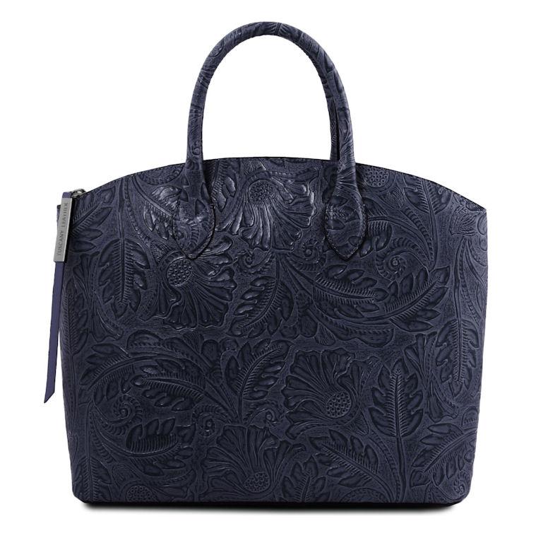 Luxusná modrá kabelka GAIA s potlačou TUSCANY LEATHER c6846c11f3f