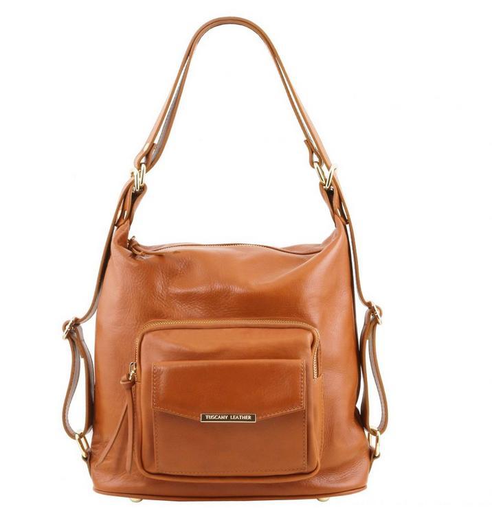 Luxusná dámska kabelka 2v1 koňaková TUSCANY BAG e97bd04986c
