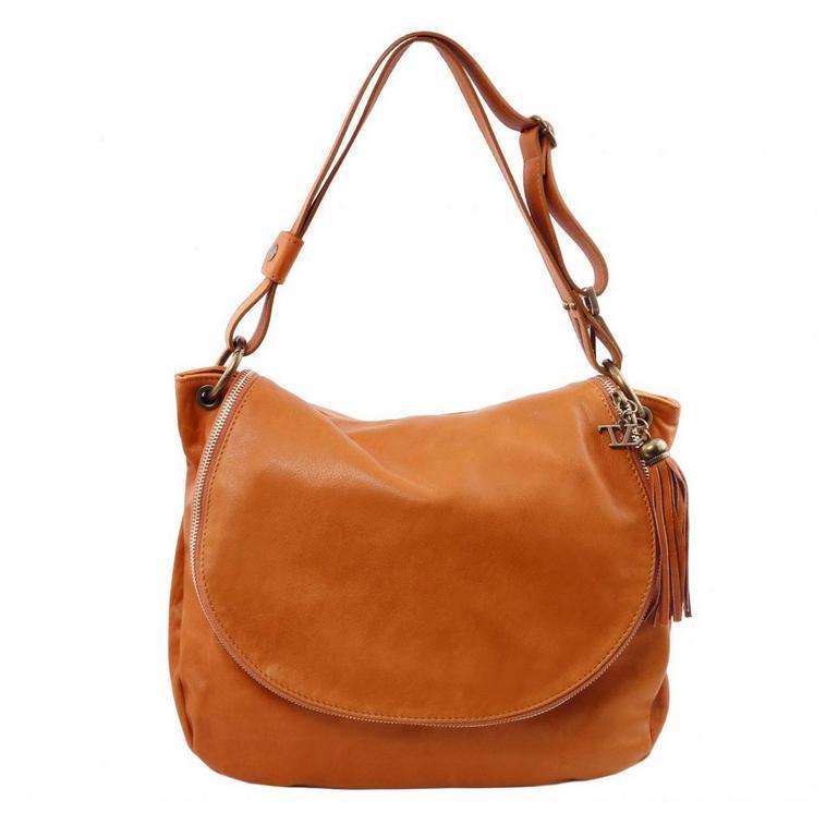 Exkluzívna dámska kabelka so strapcom cognac TUSCANY BAG SOFT c490029df87