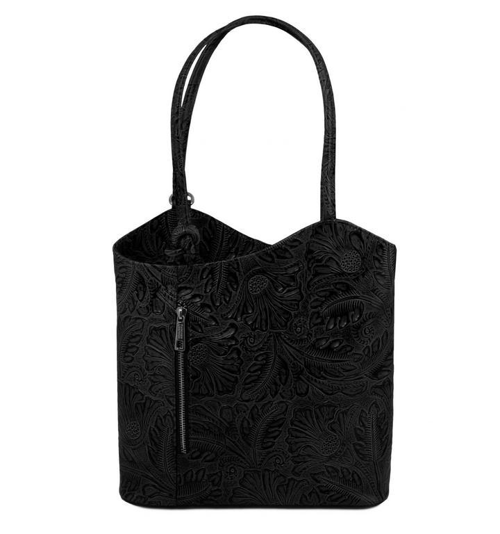 8c498c680 Luxusná čierna kabelka PATTY s potlačou TUSCANY LEATHER