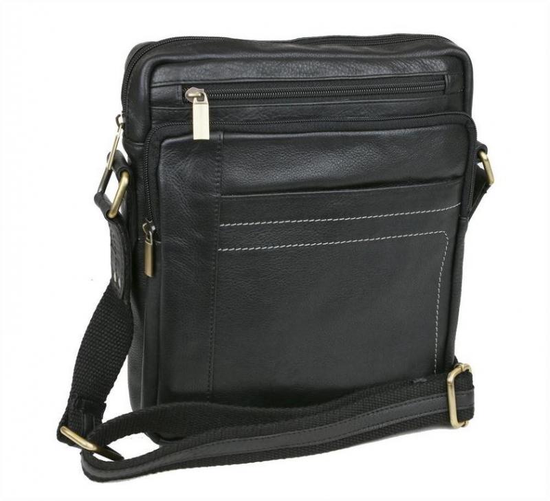 695e435eb62bf Kožená príručná taška na plece MERCUCIO NAPPA 250839 čierna -  KozeneDoplnky.sk