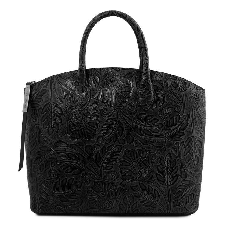 e95e49184 Dámska luxusná kabelka GAIA TUSCANY, čierna s potlačou