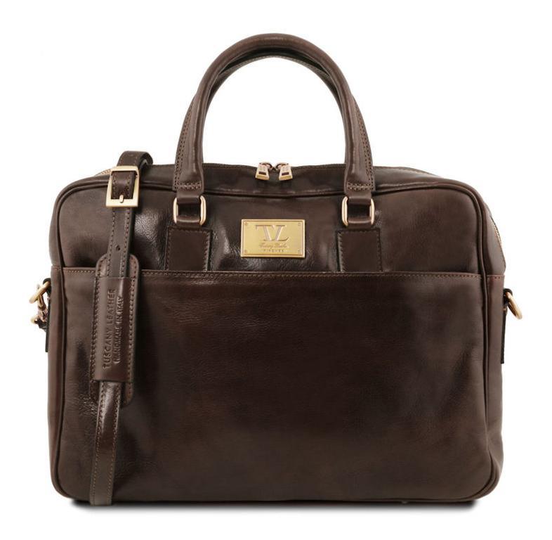 dee10d5f2e895 Luxusná kožená taška na dokumenty URBINO hnedá moro - KozeneDoplnky.sk