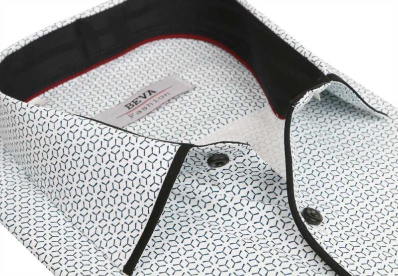 df656c54ef09 Čierno- biela pánska košeľa s dlhým rukávom BEVA SLIM - KozeneDoplnky.sk