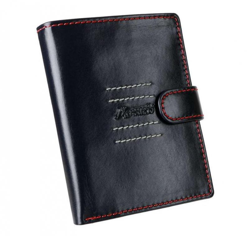 d1a88ede421f Pánska modrá peňaženka na výšku s červeným šitím MERCUCIO RFID