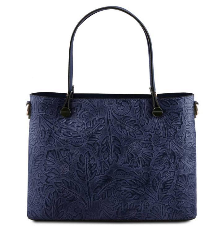 5b72733b8 Dámska luxusná kabelka modrá ATENA TUSCANY s potlačou