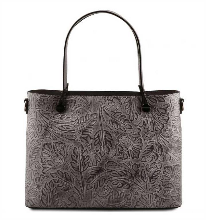 feae65b3f6 Šedá luxusná kabelka s potlačou ATENA TUSCANY 141655