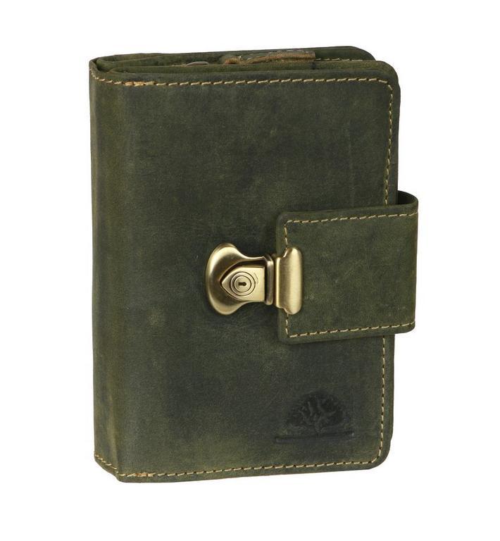b715696a48 Dámska vintage peňaženka z brúsenej kože olivová GREENBURRY