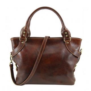 Kožená shopper bag kabelka ILENIA TUSCANY hnedá 38c3a5d02e7