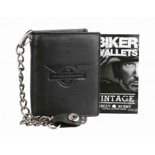 Kožená peňaženka s retiazkou vintage REBEL GreenBurry  7bbbed1fb34