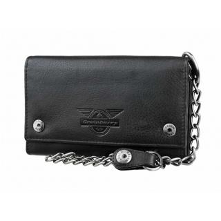 f6b38c4f19 Exkluzívna kožená peňaženka GREENBURRY Black Wings s reťazou