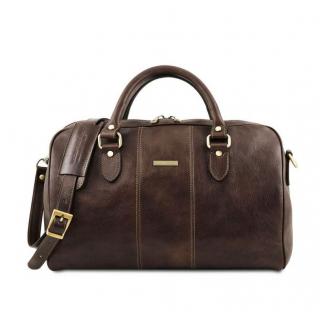 db32087e86 Kožená cestovná taška tmavohnedá small LISBONA TUSCANY