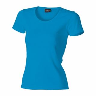 Dámske tričko z česanej bavlny azúrovo-modré LAMBESTE veľ. L d890901bb70