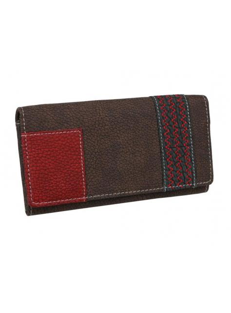 f167343e91 Dámska hnedá listová peňaženka s červeným detailom LAGEN