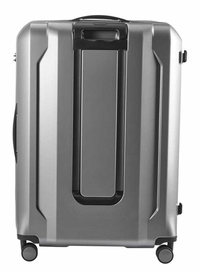 af4538f7495e8 Veľký cestovný kufor strieborný plastový 8170