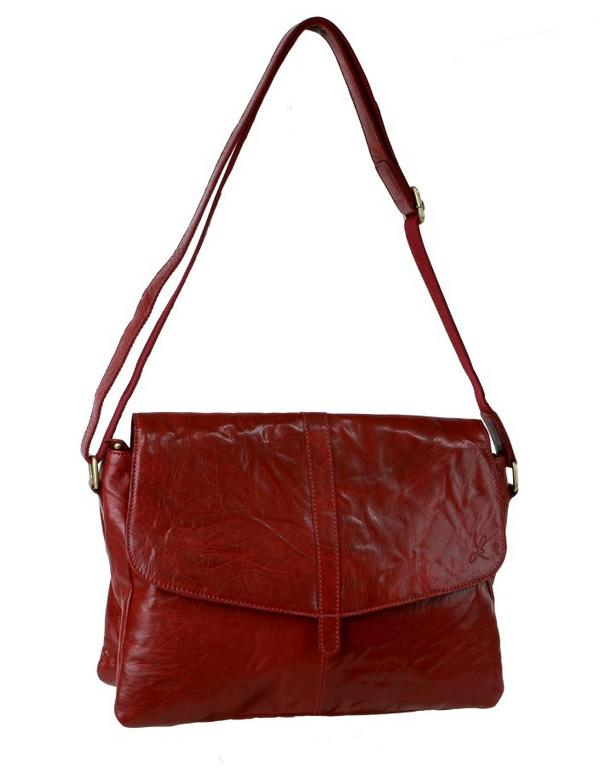 Luxusná kabelka rubínová LAGEN krčený povrch